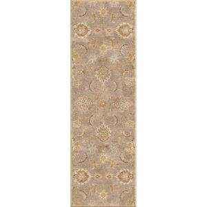"Abers Handmade Floral Gray / Beige Runner Rug (2'6""  x  8')"