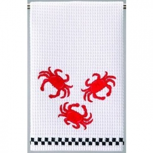 Crabs Kitchen Waffle Weave Towel