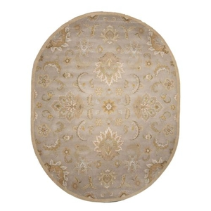 Abers Handmade Floral Gray / Beige Oval Area Rug (8'  x  10')