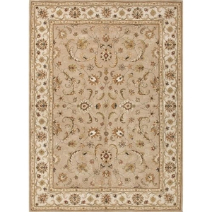 Normandy Handmade Floral Beige / Brown Area Rug (8'  x  10')