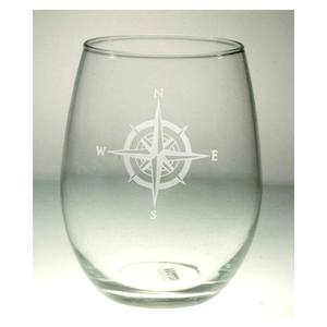 Compass Rose Stemless Wine Tumbler 17Oz Set Of 4