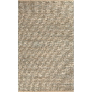 Diagonal Weave Natural Solid Tan / Green Area Rug (5'  x  8')