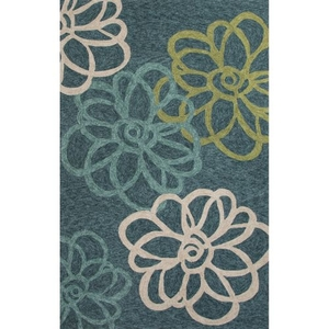Blossomed Indoor / Outdoor Floral Teal / Green Area Rug (2'  x  3')
