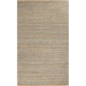 Diagonal Weave Natural Solid Tan / Green Area Rug (8'  x  10')