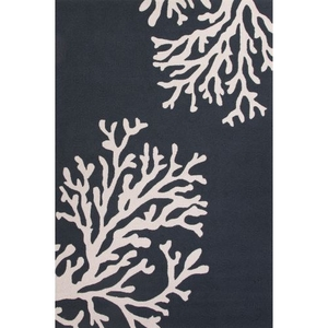 "Bough Out Indoor / Outdoor Floral Navy / Cream Area Rug (3'6""  x  5'6"")"