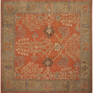 Chambery Handmade Floral Orange / Brown Square Area Rug (6'  x  6')