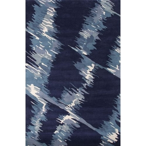 Luli Sanchez by Raven Handmade Abstract Blue / White Area Rug (8'  x  11')