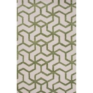 Addy Handmade Geometric White / Green Area Rug (5'  x  8')
