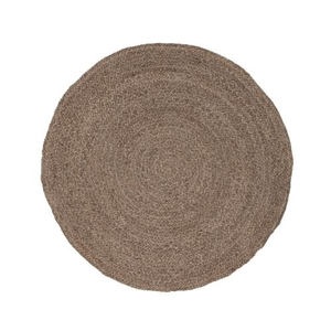 Round About Natural Solid Gray Round Area Rug (6'  x  6')