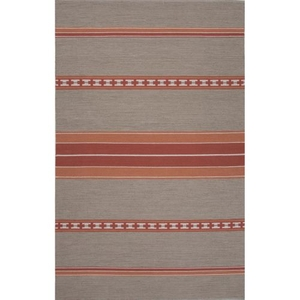 Museum Ifa by Cuzco Handmade Stripe Gray / Coral Area Rug (5'  x  8')