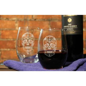 Sugar Skull Stemless  Wine Glass 17oz