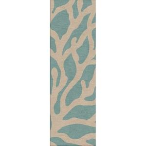 "Coral Indoor / Outdoor Abstract Teal / Tan Runner Rug (2'6""  x  8')"