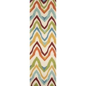 "Bahia Indoor / Outdoor Chevron White / Multicolor Runner Rug (2'6""  x  8')"