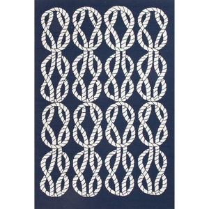"Roped In Indoor / Outdoor Abstract Navy / White Area Rug (5'  x  7'6"")"