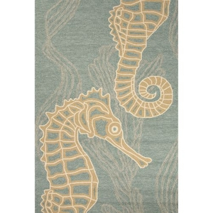 "Sea Horsing Around Indoor / Outdoor Animal Blue / Beige Area Rug (3'6""  x  5'6"")"