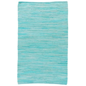 Raggedy Handmade Solid Blue / Green Area Rug (8'  x  10')
