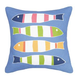 Picket Fish Blue Print Pillow