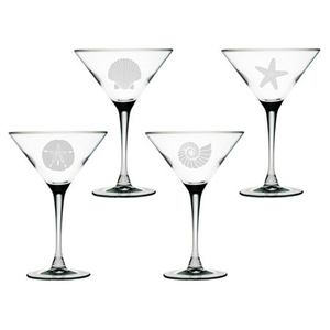 Seashore Etched Martini Glass Mixed Set Of 4