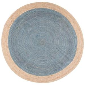 Chipowa Natural Bordered Blue / Beige Round Area Rug (8'  x  8')