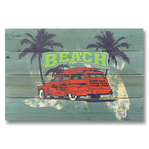 Red Beach Woodie Wood Art