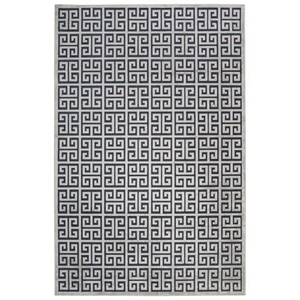 Greek Geometric Dark Blue / Silver Area Rug (2'  x  3')