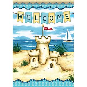 Sandcastle By The Sea Garden Flag