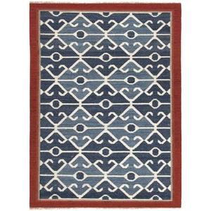 Sultan Handmade Geometric Blue / Red Area Rug (9'  x  12')