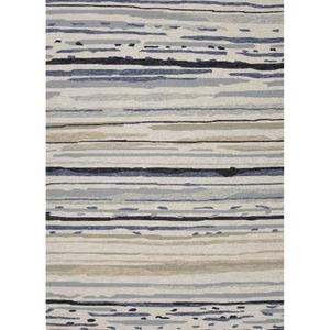 Lauren Wan by Sketchy Lines Indoor / Outdoor Abstract Silver / Blue Area Rug (9'  x  12')