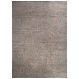 Strong Damask Tan / Blue Area Rug (9'  x  12')