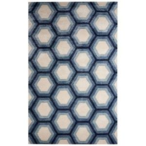 Jay Handmade Geometric Blue / Cream Area Rug (2'  x  3')