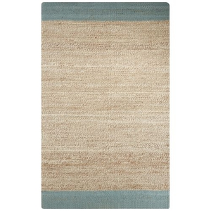 Mallow Natural Bordered Tan / Blue Area Rug (2'  x  3')