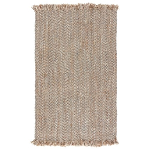 Hoopes Natural Chevron Beige / Gray Area Rug (8'  x  10')