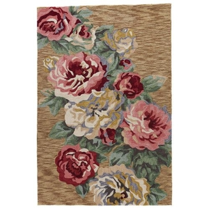 "Corsage Handmade Floral Gold / Pink Area Rug (7'6""  x  9'6"")"