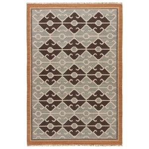 Sultan Handmade Geometric Gray / Brown Area Rug (8'  x  10')