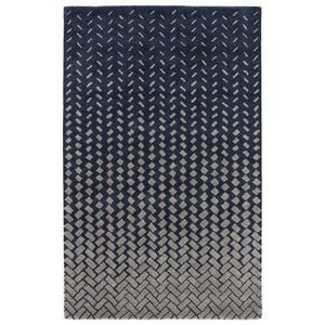 Silas Handmade Geometric Dark Blue / Beige Area Rug (8'  x  11')