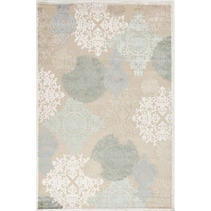 Wistful Medallion Beige / Green Square Area Rug (8'  x  8')