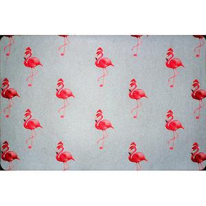 Flamingo Santa Door Mat