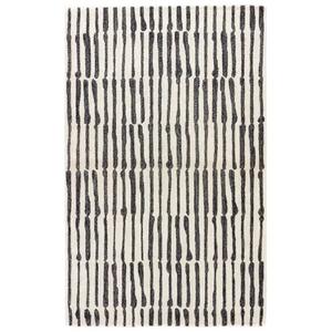 Nikki Chu by Saville Handmade Abstract White / Black Area Rug (2'  x  3')