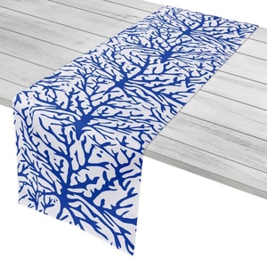 """Coral Cobalt Table Runner - 16""""X72"""""""