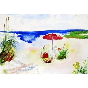 Red Beach Umbrella Door Mat 18X26