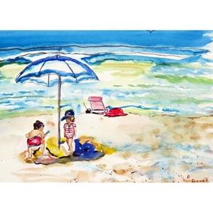 Children At The Beach Door Mat 30X50