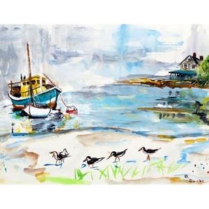 Boats & Sandpipers Door Mat 18X26