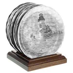 Lighthouse 4 Piece Coaster Set With Caddy