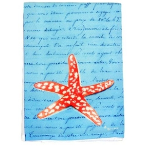 Coral Starfish Blue Script Guest Towel
