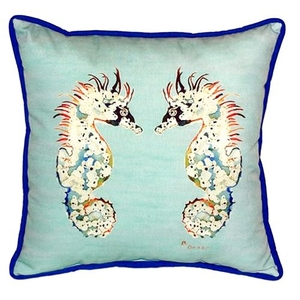 Betsy'S Sea Horses - Teal Large Indoor/Outdoor Pillow 18X18