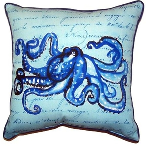 Blue Script Octopus Large Indoor/Outdoor Pillow 18X18