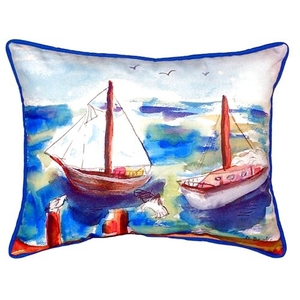 Two Sailboats Large Indoor/Outdoor Pillow 16X20