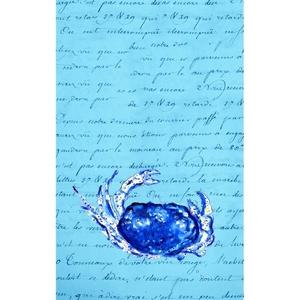 Blue Script Crab Kitchen Towel