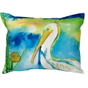 White Pelican No Cord Pillow 16X20