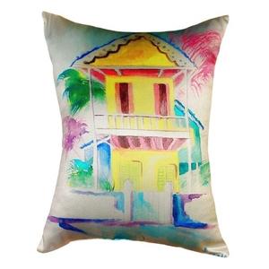 W. Palm Hut Yellow No Cord Pillow 16X20